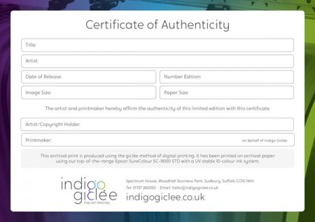 Certificate of Authenticity Giclee Printing, UK, Suffolk, Essex